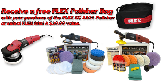 Get a Free FLEX Polisher Bag with your purchase of the FLEX XC3401 VRG Polisher or select kits. A $39.99 value.